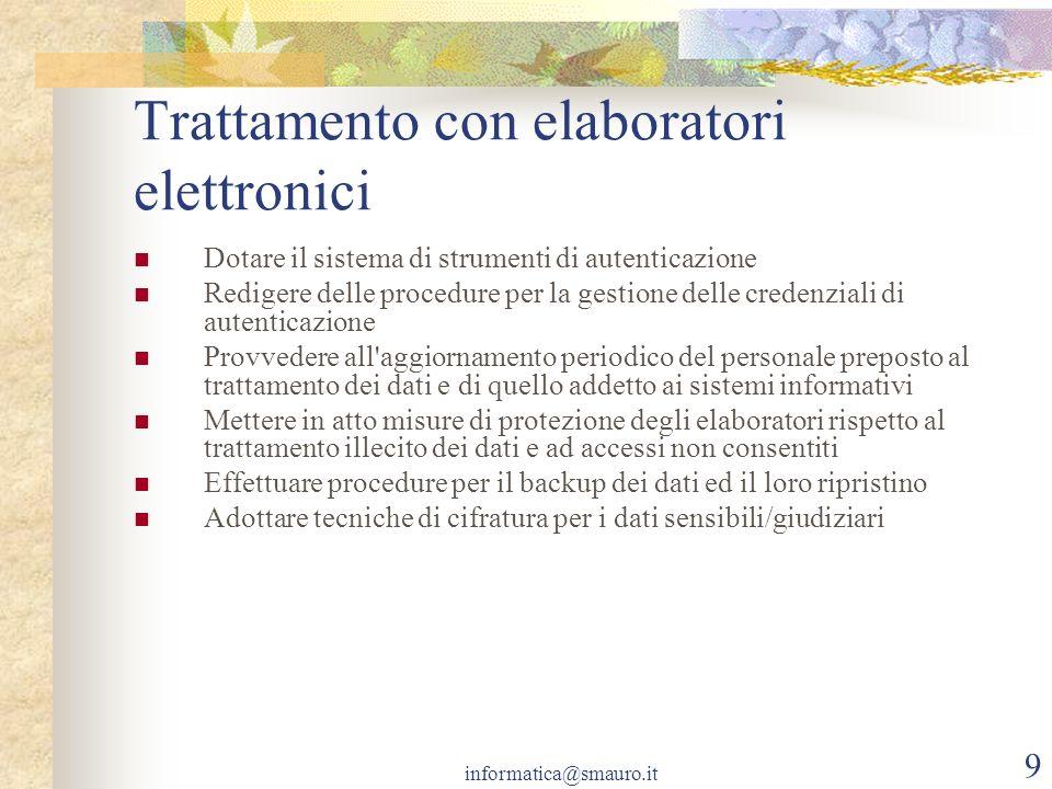 Trattamento con elaboratori elettronici