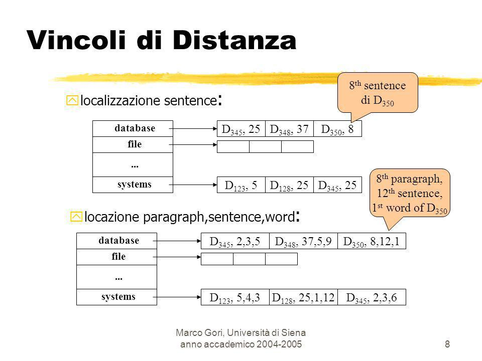 Marco Gori, Università di Siena anno accademico 2004-2005