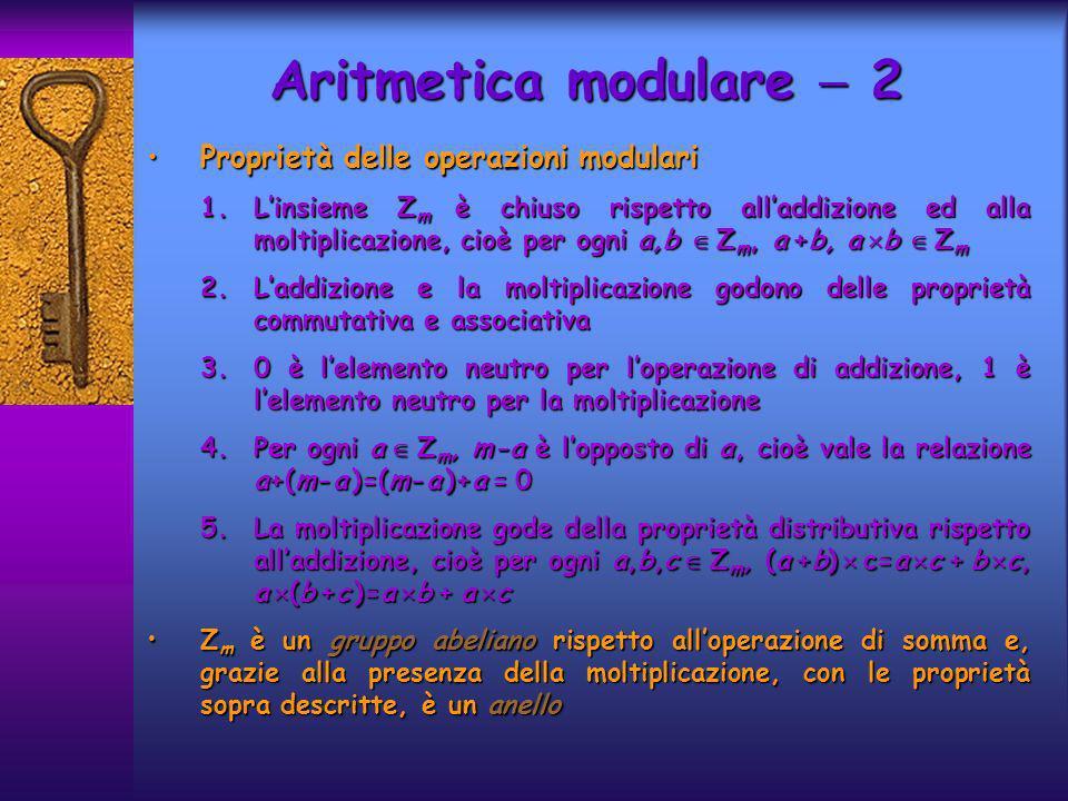 Aritmetica modulare  2 Proprietà delle operazioni modulari