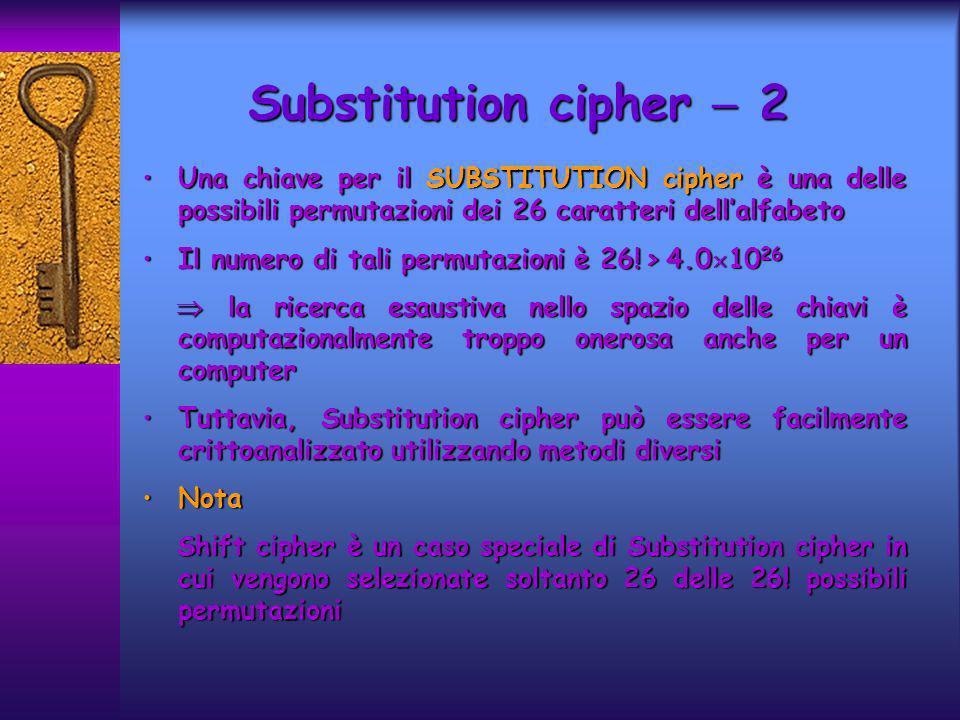 Substitution cipher  2 Una chiave per il SUBSTITUTION cipher è una delle possibili permutazioni dei 26 caratteri dell'alfabeto.