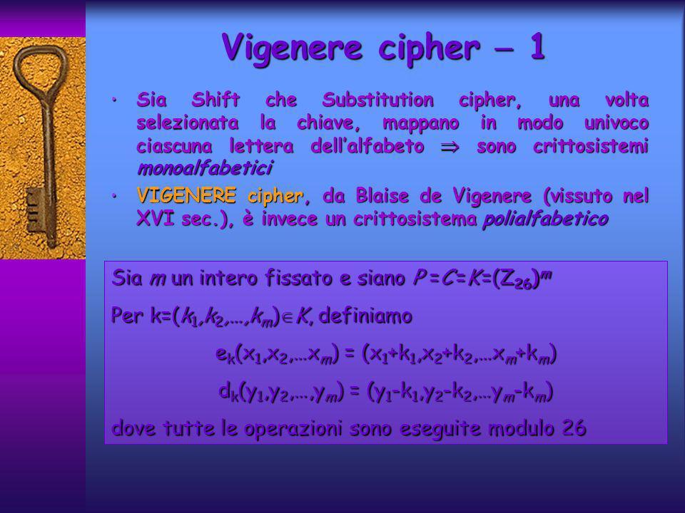 Vigenere cipher  1 Sia m un intero fissato e siano P =C =K =(Z26)m