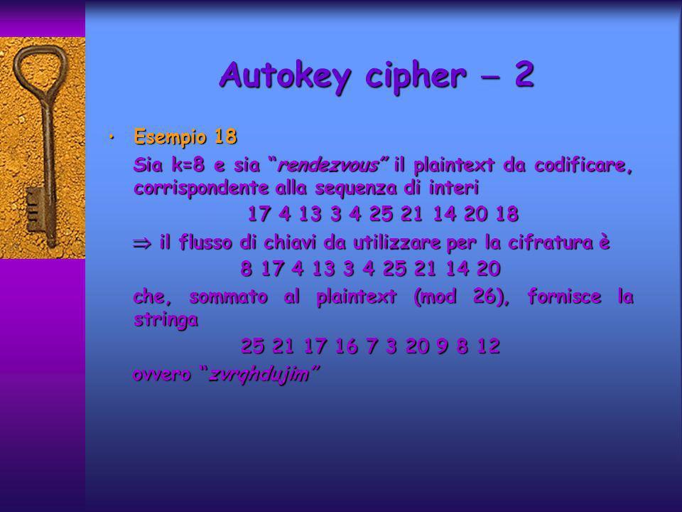 Autokey cipher  2 Esempio 18
