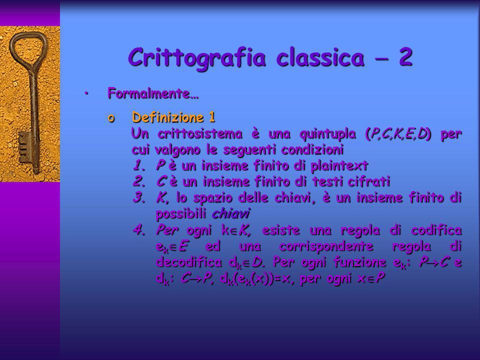 Crittografia classica  2