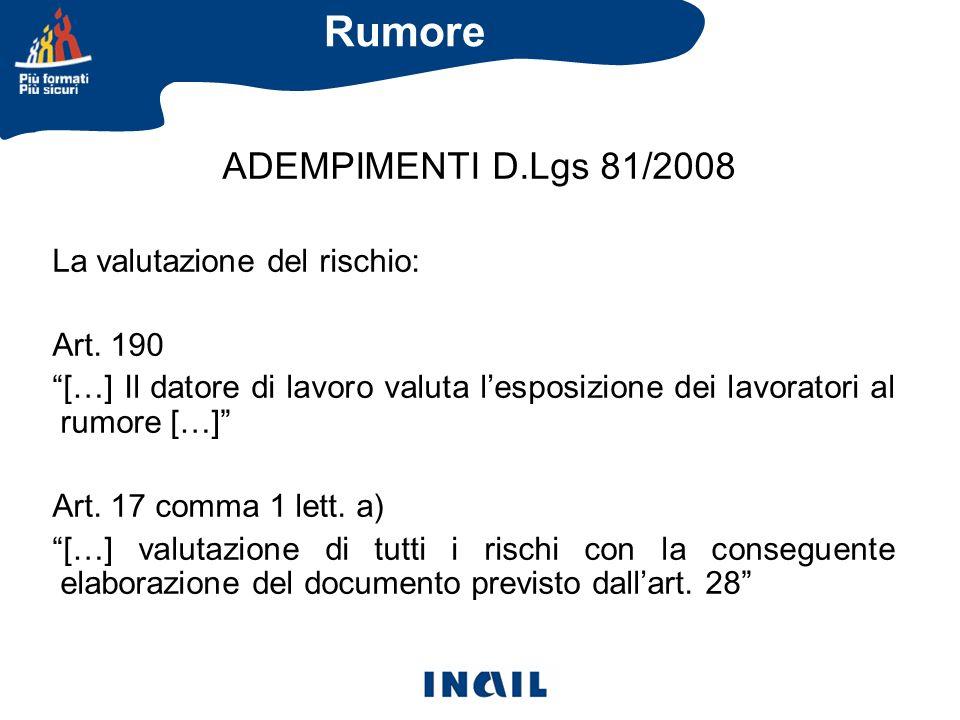 Rumore ADEMPIMENTI D.Lgs 81/2008 La valutazione del rischio: Art. 190