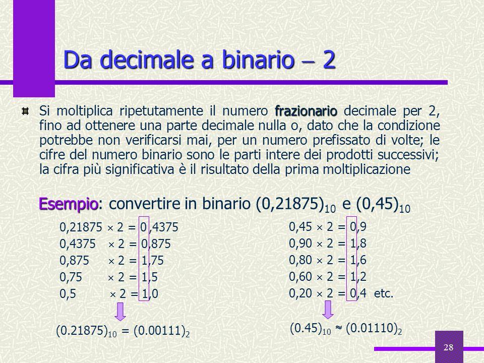 Da decimale a binario  2