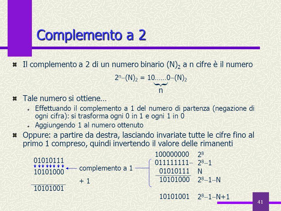 Complemento a 2 Il complemento a 2 di un numero binario (N)2 a n cifre è il numero. Tale numero si ottiene…