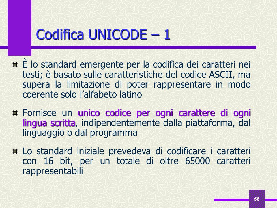 Codifica UNICODE – 1