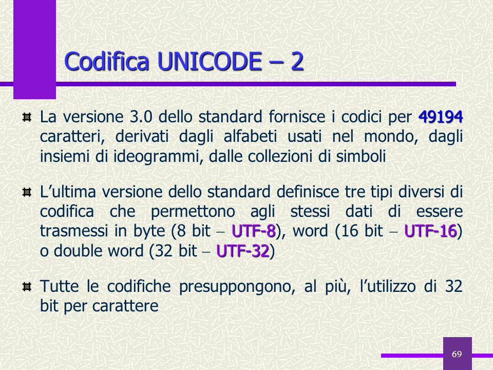 Codifica UNICODE – 2
