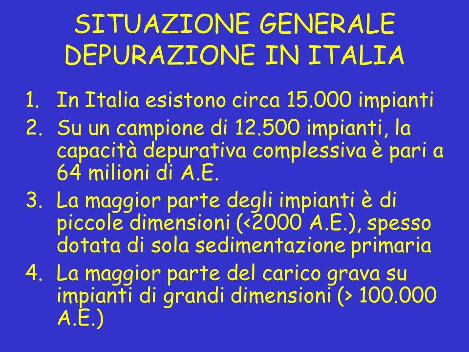 SITUAZIONE GENERALE DEPURAZIONE IN ITALIA