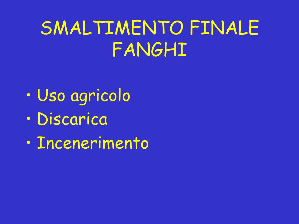 SMALTIMENTO FINALE FANGHI