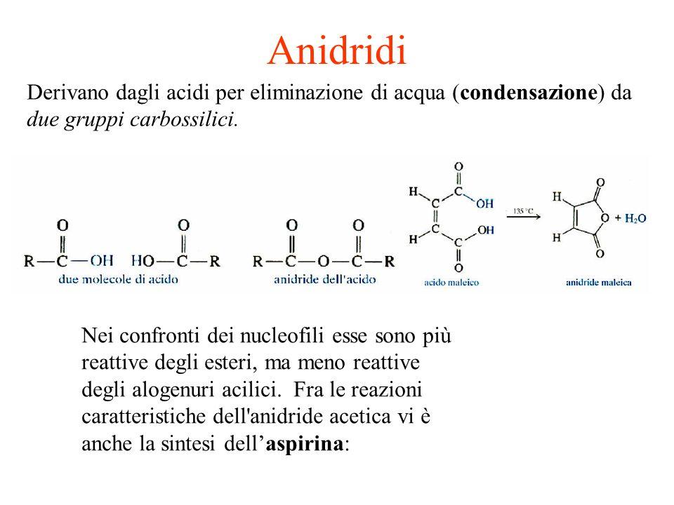 AnidridiDerivano dagli acidi per eliminazione di acqua (condensazione) da due gruppi carbossilici.