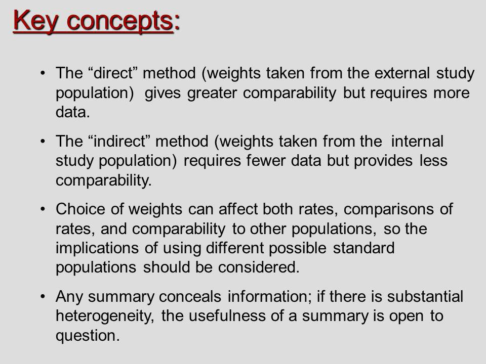 Key concepts: The direct method (weights taken from the external study population) gives greater comparability but requires more data.