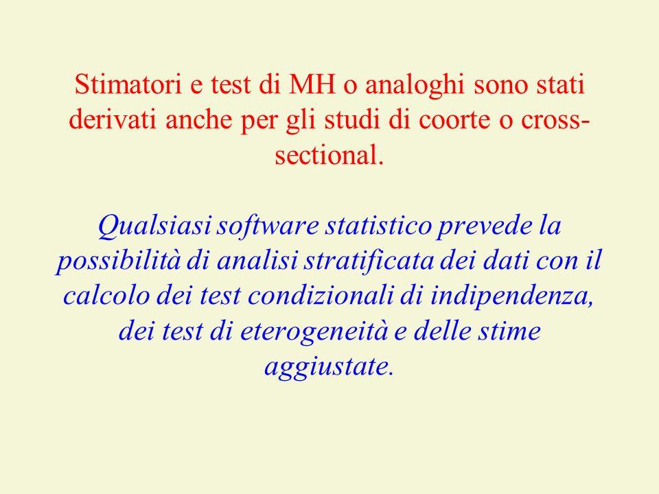 Stimatori e test di MH o analoghi sono stati derivati anche per gli studi di coorte o cross-sectional.