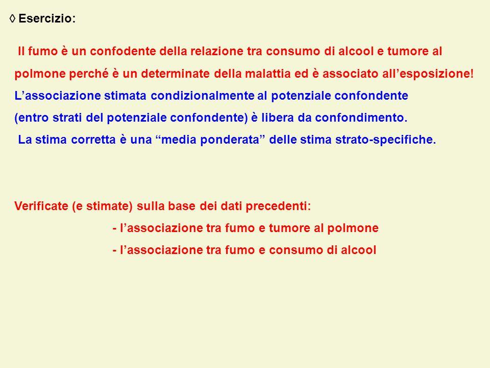  Esercizio: Il fumo è un confodente della relazione tra consumo di alcool e tumore al.