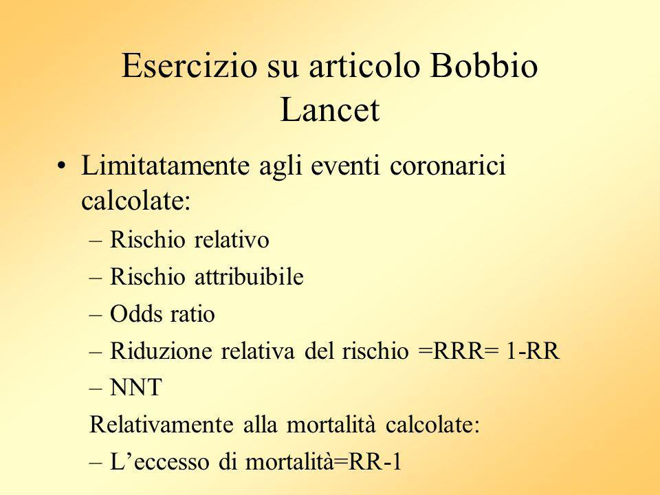 Esercizio su articolo Bobbio Lancet
