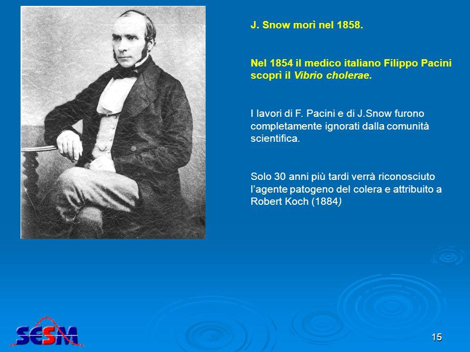 J. Snow morì nel 1858. Nel 1854 il medico italiano Filippo Pacini scoprì il Vibrio cholerae.