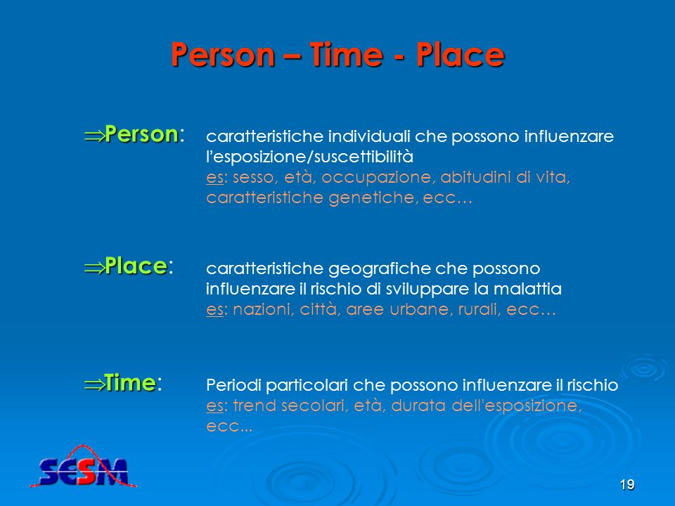 Person – Time - Place Person: Place: Time: