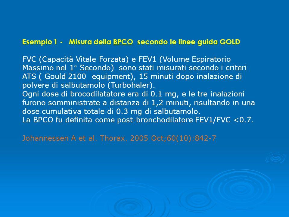 Esempio 1 - Misura della BPCO secondo le linee guida GOLD
