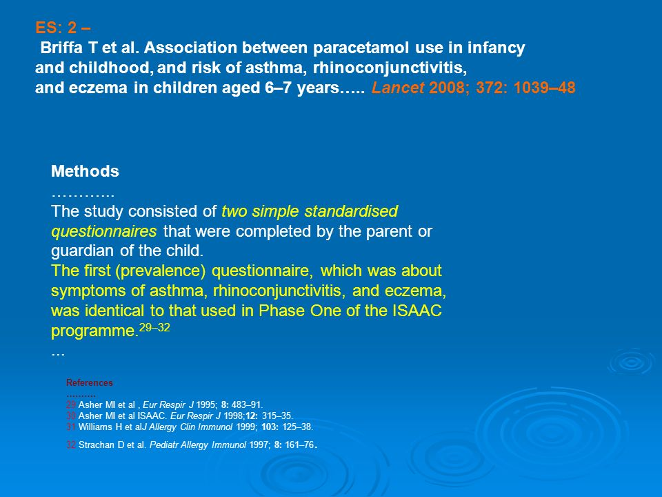 Briffa T et al. Association between paracetamol use in infancy