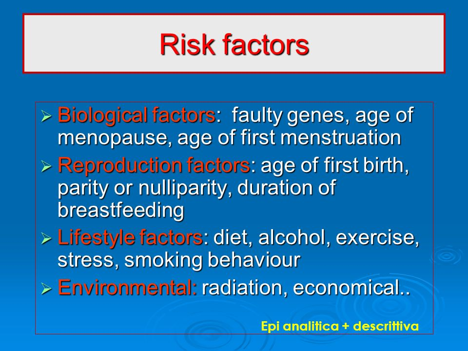 Risk factors Biological factors: faulty genes, age of menopause, age of first menstruation.
