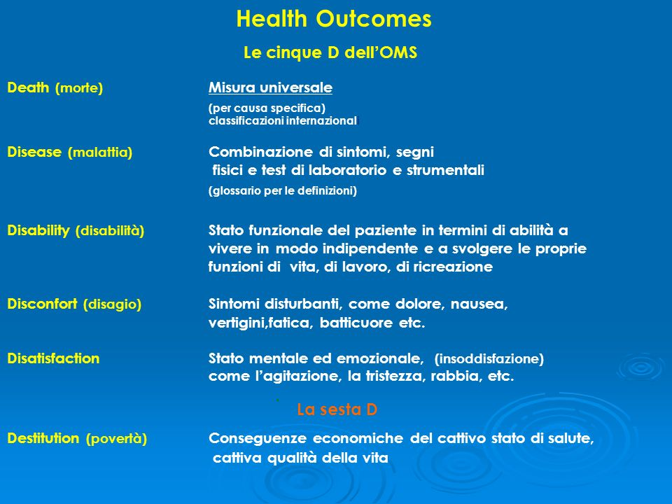 Health Outcomes Le cinque D dell'OMS (per causa specifica)