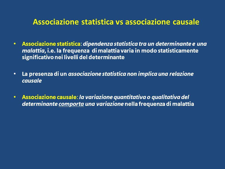Associazione statistica vs associazione causale