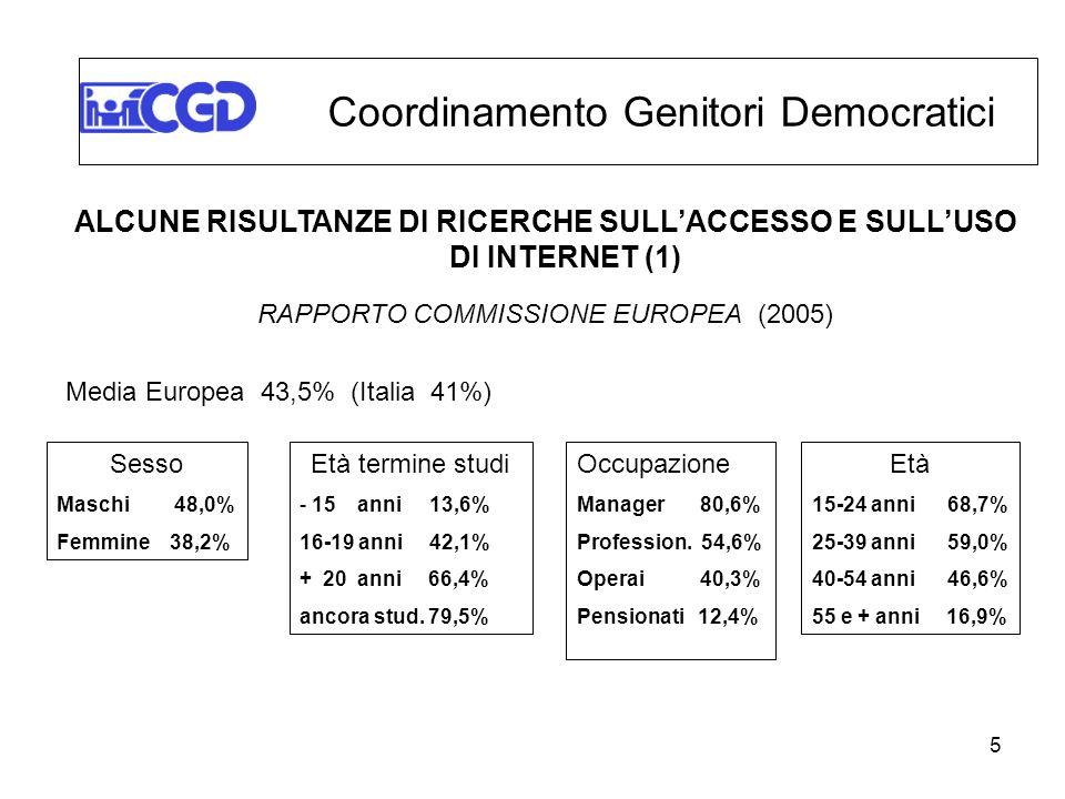 ALCUNE RISULTANZE DI RICERCHE SULL'ACCESSO E SULL'USO DI INTERNET (1)