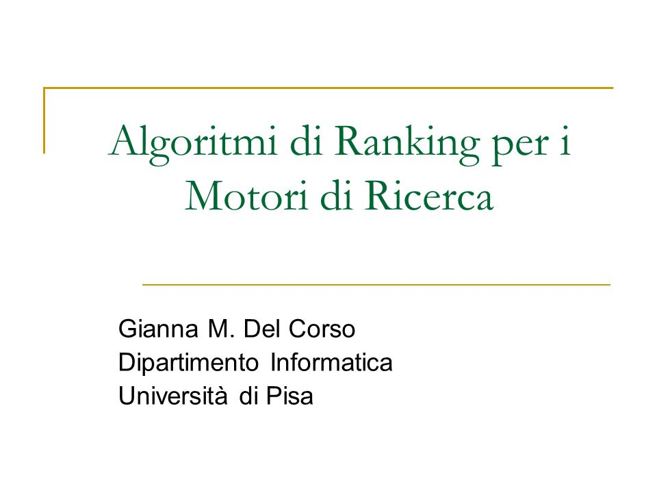 Algoritmi di Ranking per i Motori di Ricerca