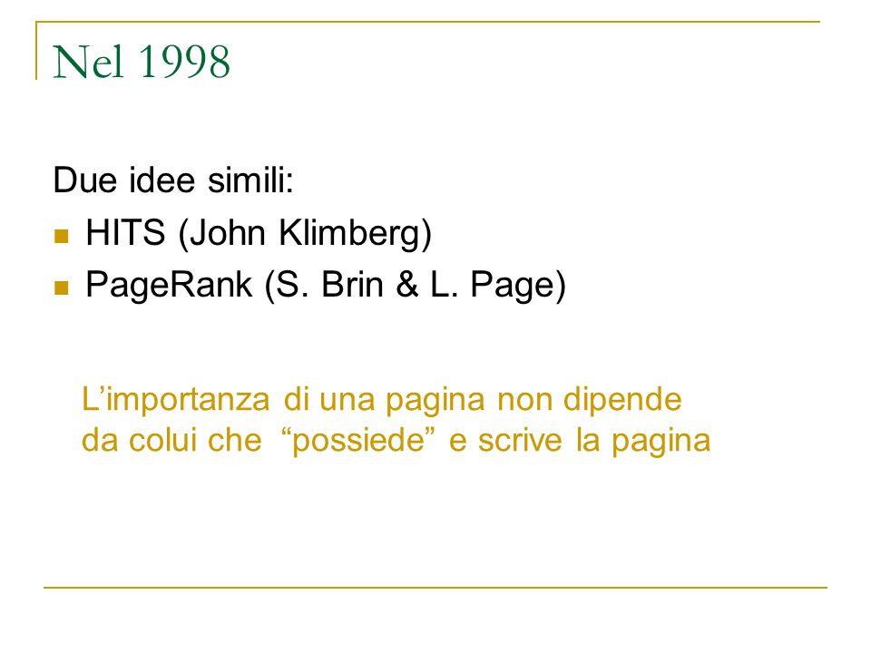 Nel 1998 Due idee simili: HITS (John Klimberg)