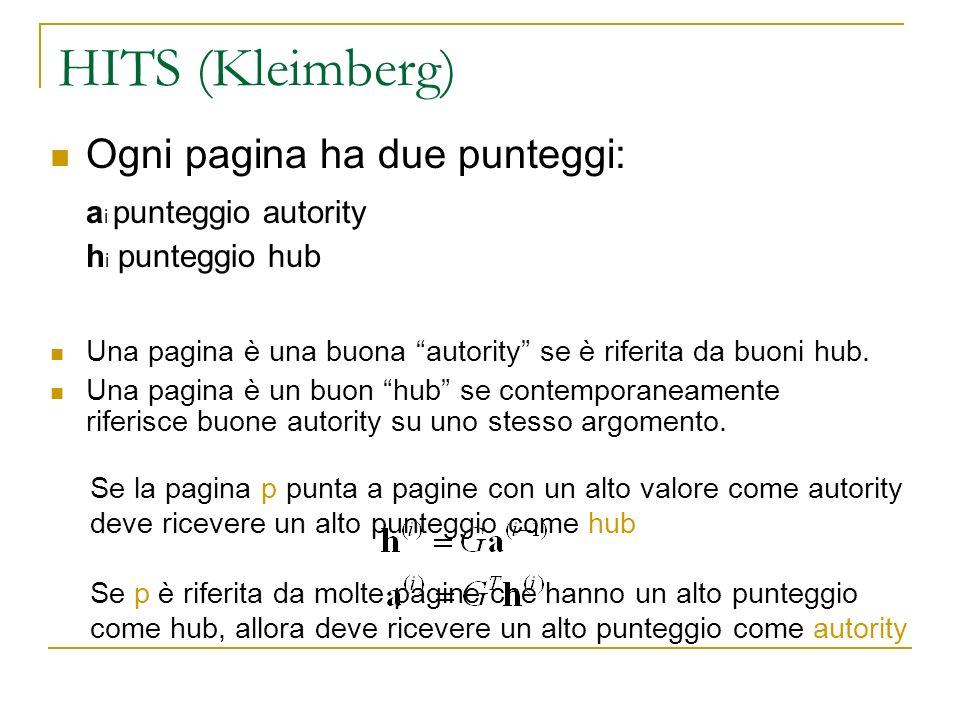 HITS (Kleimberg) Ogni pagina ha due punteggi: ai punteggio autority