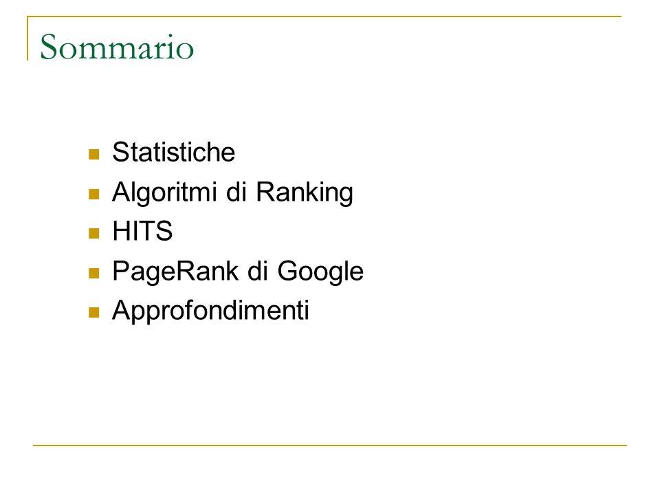 Sommario Statistiche Algoritmi di Ranking HITS PageRank di Google