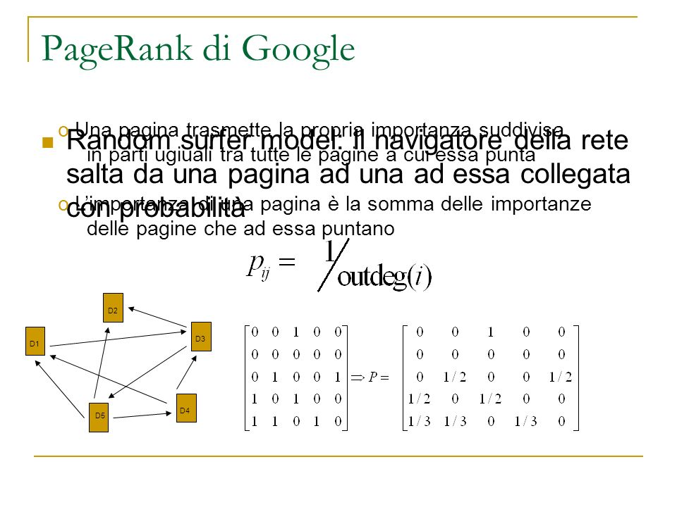PageRank di Google Una pagina trasmette la propria importanza suddivisa. in parti ugiuali tra tutte le pagine a cui essa punta.