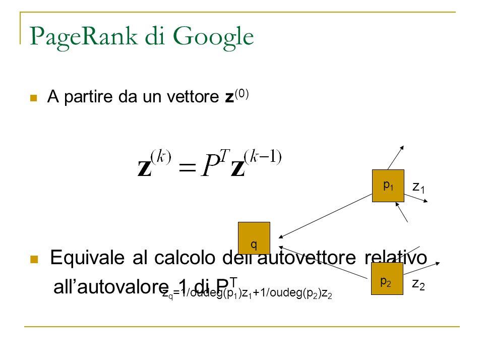 PageRank di Google Equivale al calcolo dell'autovettore relativo