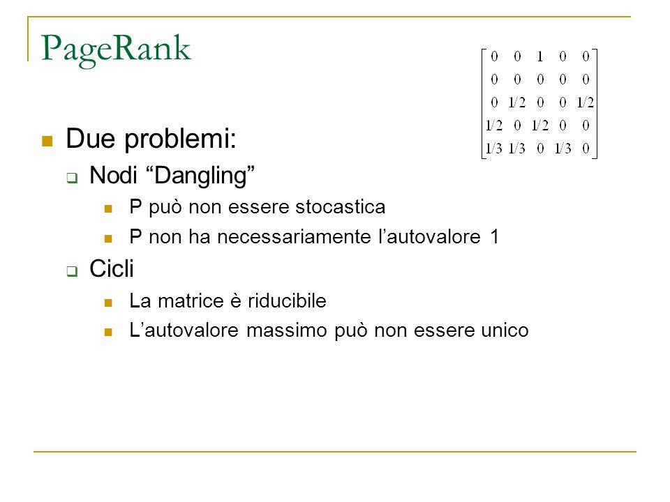 PageRank Due problemi: Nodi Dangling Cicli