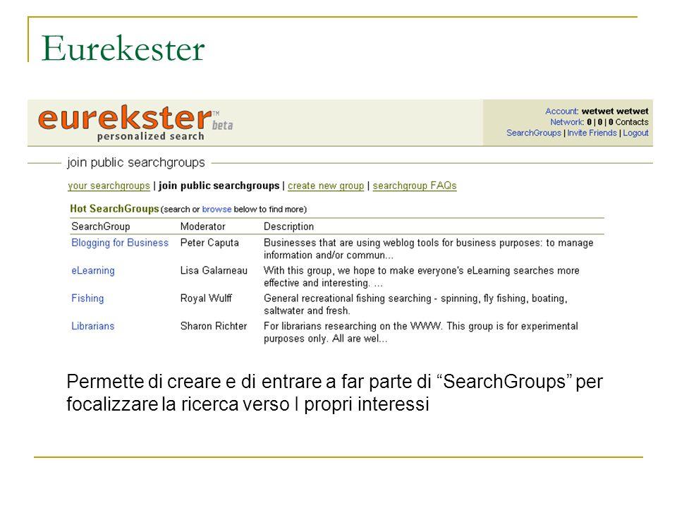 Eurekester Permette di creare e di entrare a far parte di SearchGroups per focalizzare la ricerca verso I propri interessi.