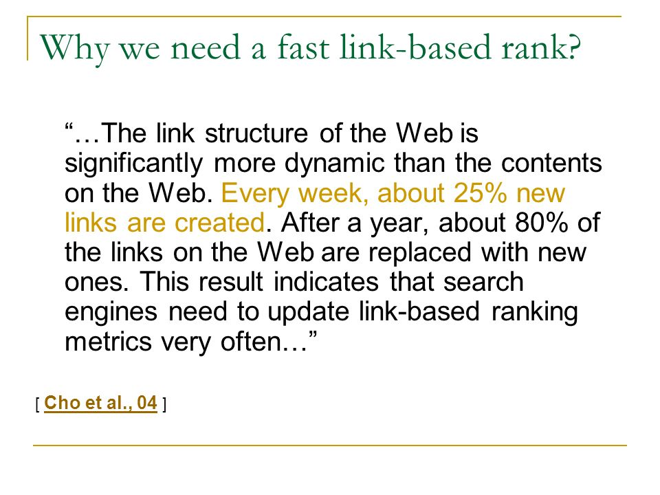 Why we need a fast link-based rank