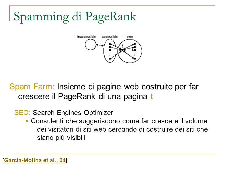 Spamming di PageRank Spam Farm: Insieme di pagine web costruito per far crescere il PageRank di una pagina t.