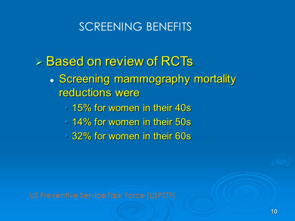 Based on review of RCTs SCREENING BENEFITS