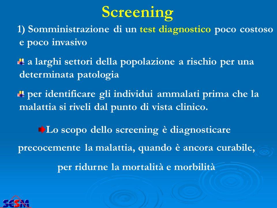 Screening 1) Somministrazione di un test diagnostico poco costoso e poco invasivo.
