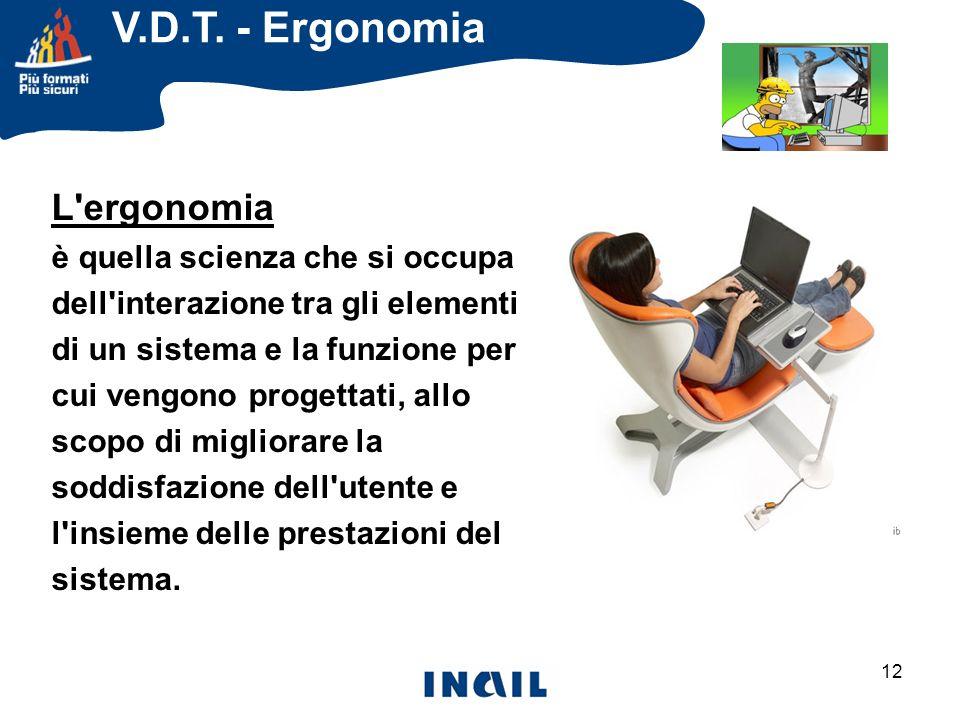V.D.T. - Ergonomia L ergonomia è quella scienza che si occupa