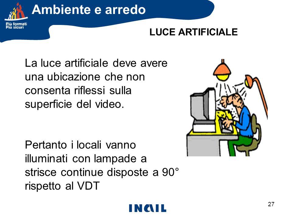 Ambiente e arredo LUCE ARTIFICIALE. La luce artificiale deve avere una ubicazione che non consenta riflessi sulla superficie del video.