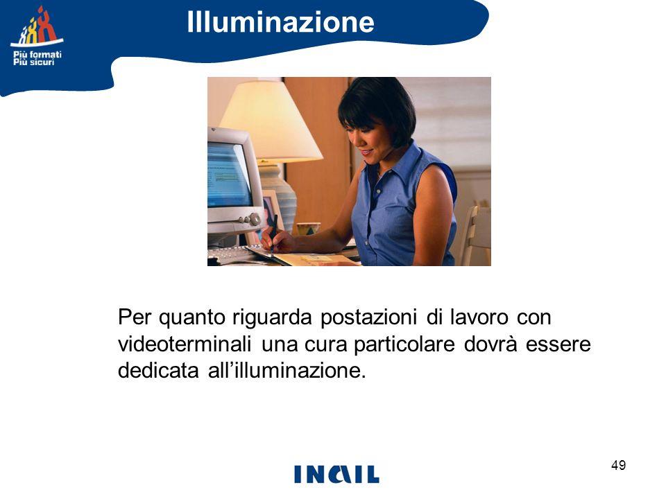 Illuminazione Per quanto riguarda postazioni di lavoro con videoterminali una cura particolare dovrà essere.