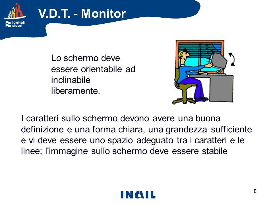 V.D.T. - Monitor Lo schermo deve essere orientabile ad inclinabile liberamente.