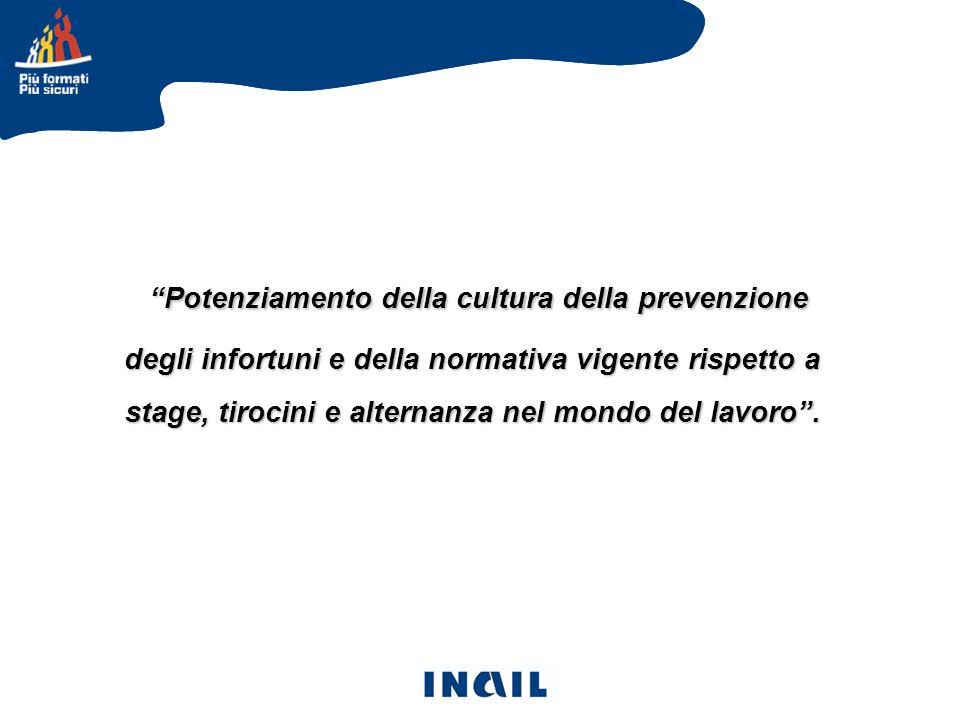 Potenziamento della cultura della prevenzione degli infortuni e della normativa vigente rispetto a stage, tirocini e alternanza nel mondo del lavoro .