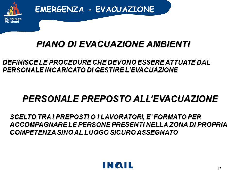 PIANO DI EVACUAZIONE AMBIENTI PERSONALE PREPOSTO ALL'EVACUAZIONE