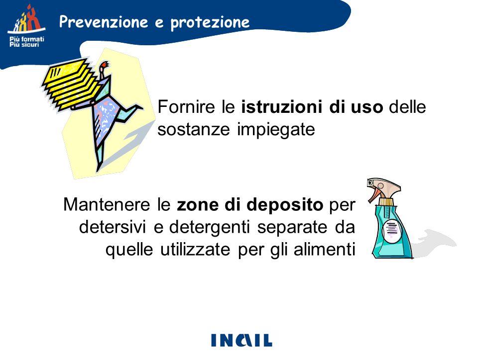 Fornire le istruzioni di uso delle sostanze impiegate
