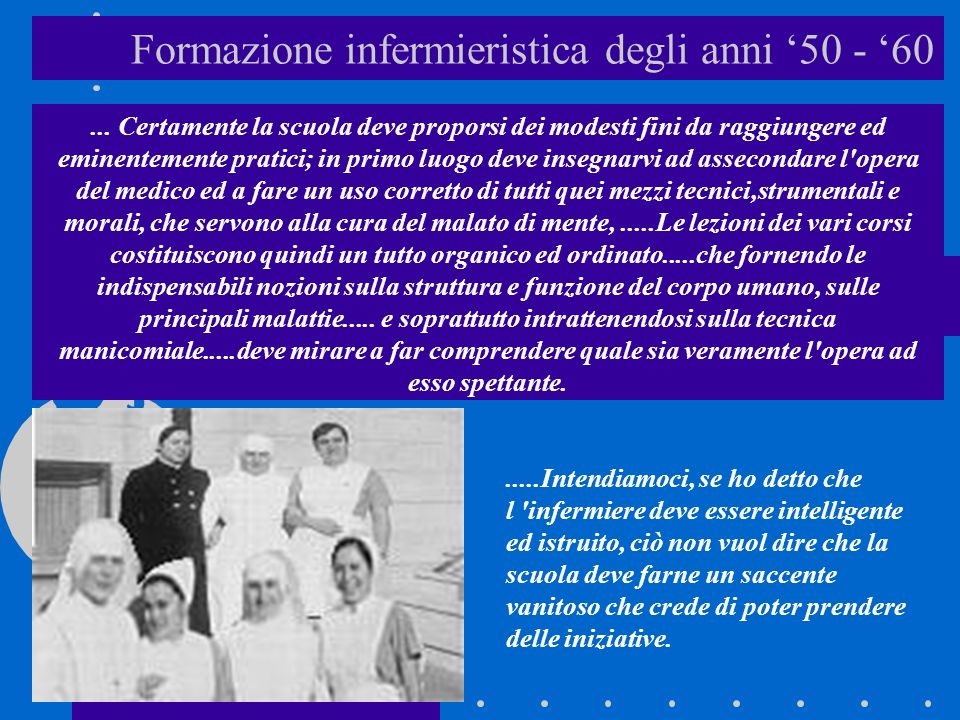 Formazione infermieristica degli anni '50 - '60