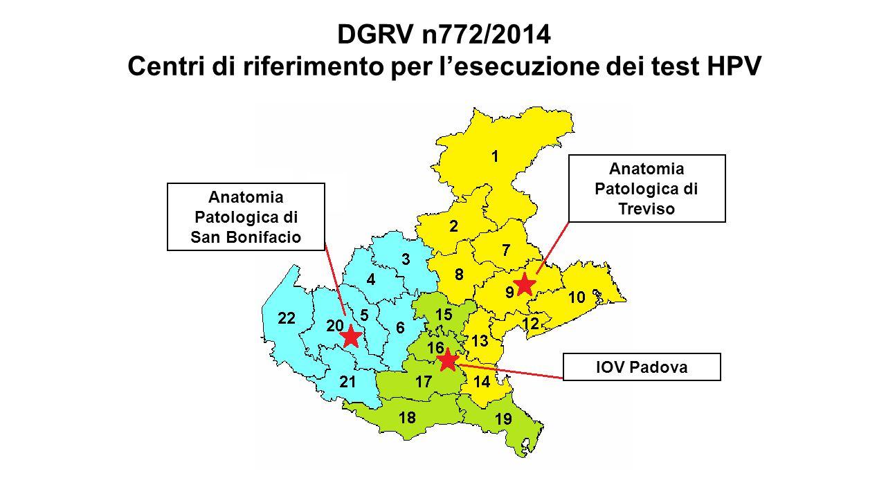 DGRV n772/2014 Centri di riferimento per l'esecuzione dei test HPV