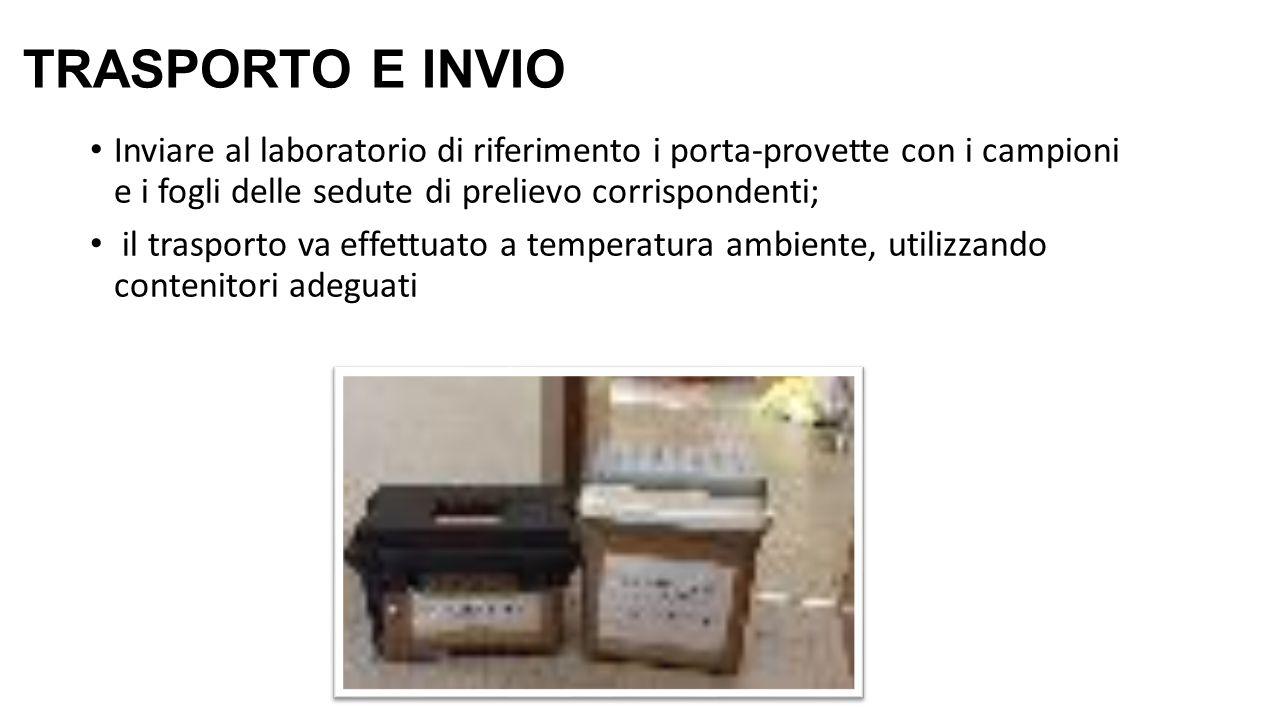 TRASPORTO E INVIO Inviare al laboratorio di riferimento i porta-provette con i campioni e i fogli delle sedute di prelievo corrispondenti;