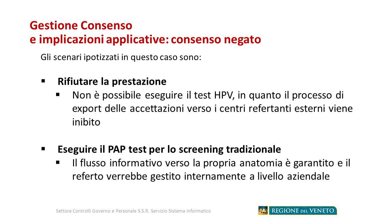 Gestione Consenso e implicazioni applicative: consenso negato